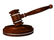 Gavel. Auction hammer. Wooden gavel on a stand. 3d illustration Royalty Free Stock Image