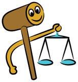 Gavel with balance. Isolated line art cartoon image Royalty Free Stock Photos