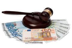 Gavel and banknotes Royalty Free Stock Images