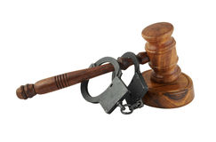 Gavel and black handcuffs Royalty Free Stock Photography