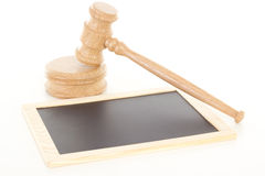 Gavel with blank blackboard Stock Photography