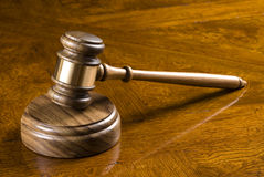 Gavel and block on desk Stock Photos