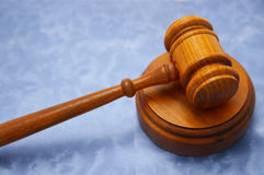 Gavel on blue Stock Photos