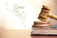 Gavel and book. Old book and gavel with blank copy space for your text Stock Images