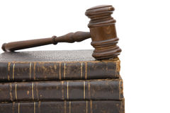 Gavel and book. Legal concept with old gavel and law books Royalty Free Stock Photo