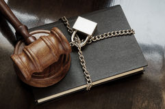 Gavel, book with chain and padlock Stock Image