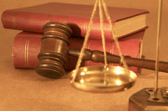 Gavel and books Stock Photos