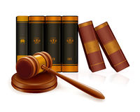 Gavel and books. Computer illustration, isolated on the white Stock Images