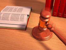 Gavel and books. Gavel and law books on a table. Digital illustration Royalty Free Stock Photos