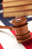 Gavel and Books on Flag stock photo