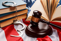 Gavel, books and handcuffs Stock Image