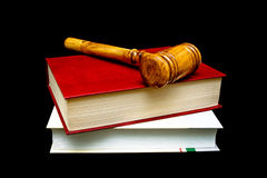 Gavel and books isolated on a black background Stock Image