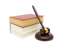 Gavel and books isolated on white background Stock Image