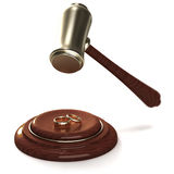 Gavel breaking golden rings as a divorce. On white Royalty Free Stock Image