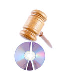 Gavel on broken disk isolated Stock Photo