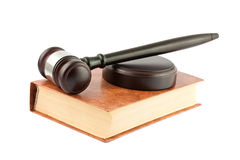 Gavel on brown book Royalty Free Stock Images