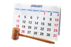Gavel and Calendar. On White Background stock photos
