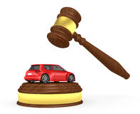 Gavel and car - 3d render. Gavel and car on the white background - 3d render Royalty Free Stock Photography