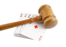 Gavel and cards isolated Royalty Free Stock Image