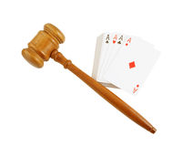 Gavel and cards isolated Stock Images