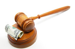 Gavel cash. Court gavel and cash, on white Stock Photography