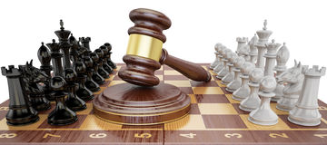Gavel on chess board with figures. Law chess concept, 3D  Stock Image