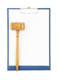 Gavel on clipboard isolated Stock Photo