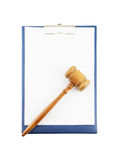 Gavel on clipboard isolated Royalty Free Stock Photography