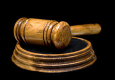Gavel close up on black background Stock Images