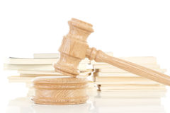 Gavel and codes of law stock photo