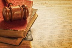 Gavel and Constitution American Justice Concept royalty free stock image