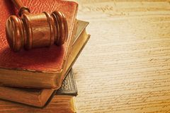 Gavel and Constitution American Justice Concept Stock Photos