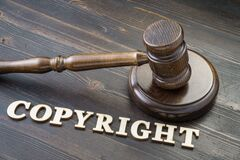 Gavel and copyright word