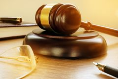 Gavel in the court. Justice and legislation. stock images