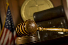 Gavel In Court Room. Closeup of gavel in court room Stock Photo