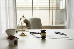 Gavel in courtroom working office. Of lawyer legislation Royalty Free Stock Photos
