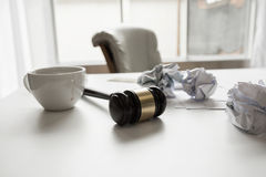 Gavel in courtroom working office of lawyer legislation.  Royalty Free Stock Image