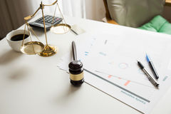 Gavel in courtroom working office of lawyer legislation. royalty free stock photo