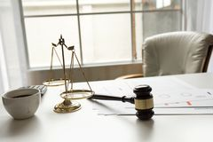 Gavel in courtroom working office of lawyer legislation. royalty free stock photography