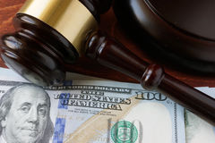 A gavel and currency Stock Photography