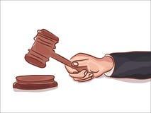 Gavel a disposizione isolato sul simbolo bianco della punizione del tribunale della giustizia o dell'asta, illustrazione del dise Fotografia Stock