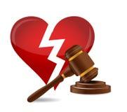 Gavel divorce concept illustration design. Over a white background Stock Photo