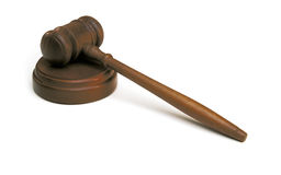 Gavel do juiz no branco Imagem de Stock Royalty Free