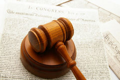 Gavel and docs. Legal gavel with Declaration of Independence and Constitution documents Royalty Free Stock Images