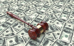 Gavel on dollar background. In the design of information related to law Stock Images