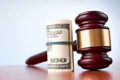 Gavel and dollars Stock Image
