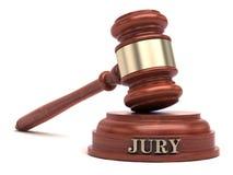 Gavel e testo della giuria sul blocco sano fotografia stock