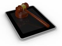 Gavel et PC de tablette Images stock
