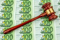 Gavel and euro banknotes Royalty Free Stock Photos