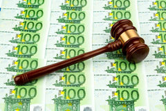Gavel and euro banknotes Stock Photo